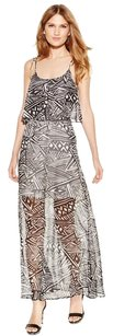 Black and Cream Maxi Dress by Calvin Klein Maxi Popover Chiffon A-line Sleeveless