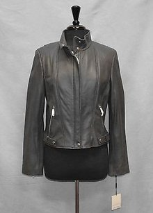 Calvin Klein D0 Wmns Soft Leather Zip Moto Motorcycle Jacket