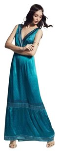 Turquoise Maxi Dress by Calypso St. Barth Silk Bohemian Maxi Blue