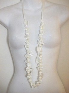 Cära Couture Jewelry Cara York White Faux Pearl Ribbon Tie Necklace