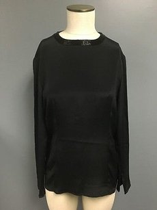 Carlisle Silk Beaded Neck Long Sleeve Zip Dressy Sm2046 Top Black