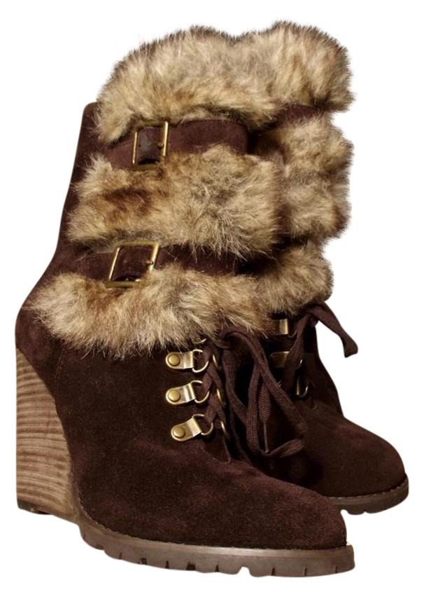 2eacf96d794a Carlos by by by Carlos Santana Brown Faux Fur Worn Once Fabulous Fur Genuine  Suede Leather Boho Chic Boots Booties Size US 8 Regular (M