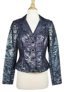 Carmen Marc Valvo Carmen Marc Valvo Purple Metallic Blazer Long Sleeve Wool Blend