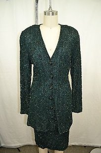 Carmen Marc Valvo Carmen Marc Valvo Vintage Emerald Green Beaded Skirt Suit