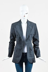 Carolina Herrera Carolina Herrera Gray Wool Blend Windowpane Blazer Jacket