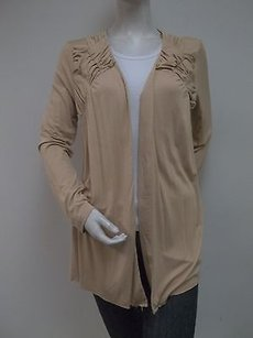 Carolyn Taylor Grand Sand Ruched Pintuck Front Drape Knit Cardigan Sweater