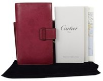 Cartier Auth Cartier Logos Notebook Cover Memo Pad Leather Red France Vintage 06D196