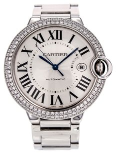 Cartier Ballon Bleu 42mm WE9009Z3 18K White Gold Factory Diamond Bezel Watch CRTBBW2