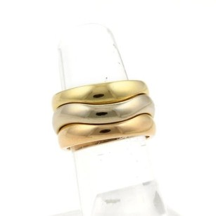 Cartier Carier 18k Tri-color Gold Triple Stack Wave Band Ring Eu 50-us