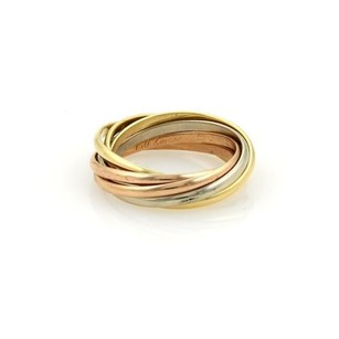 Cartier Cartier 18k Tri-color Gold Trinity Rolling 2mm Band Ring Eu 51-us