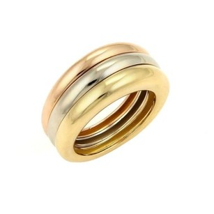 Cartier Cartier 18k Tri-color Gold Triple Dome Tapered Band Ring Eu 49-us 4.75