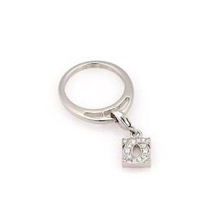 Cartier Cartier 18k White Gold Charm Ring With Double C Diamond Charm - -