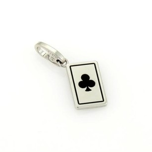 Cartier Cartier 18k White Gold Club Playing Card Pendant Charm