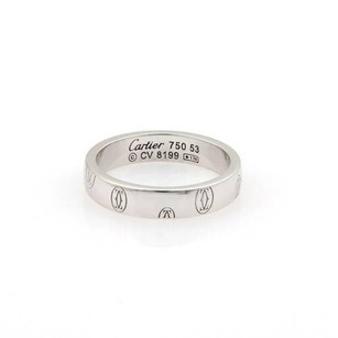 Cartier Cartier 18k White Gold Happy Birthday Logo Band Ring 4mm - 53 -