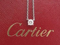 Cartier Cartier 18kt Round Cut Diamond Solitaire Pendant Necklace .51ct E-vs1 16