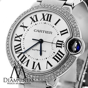 Cartier Cartier Ballon Bleu W6920046 Automatic Mid-size Watch Pave Diamond Bezel