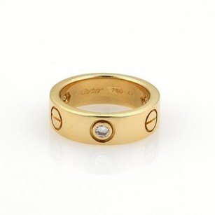 Cartier Cartier Love Diamonds 18k Yellow Gold 5.5mm Band Ring Eu 47-us Wcert.