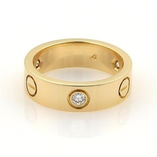 Cartier Cartier Love Diamonds 18k Ygold 5.5mm Band Ring Eu 49-us