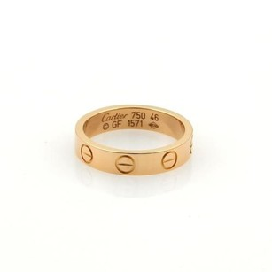 Cartier Cartier Mini Love 18k Rose Gold 3.5mm Ring Band Eu 46-us 3.75 Wcert.