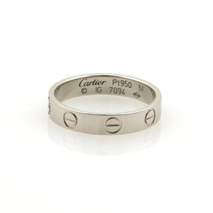 Cartier Cartier Mini Love Platinum 3.5mm Wide Ring Band Eu 51 -