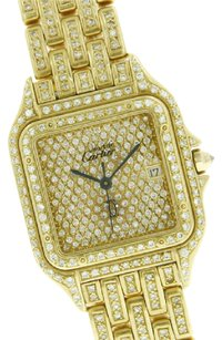 Cartier CARTIER Panther 18k Yellow Gold & Iced Out 27mm RARE 887968