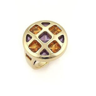 Cartier Cartier Pasha Amethyst Citrine 18k Gold Round Top Ring -size 50-5.25 -cert