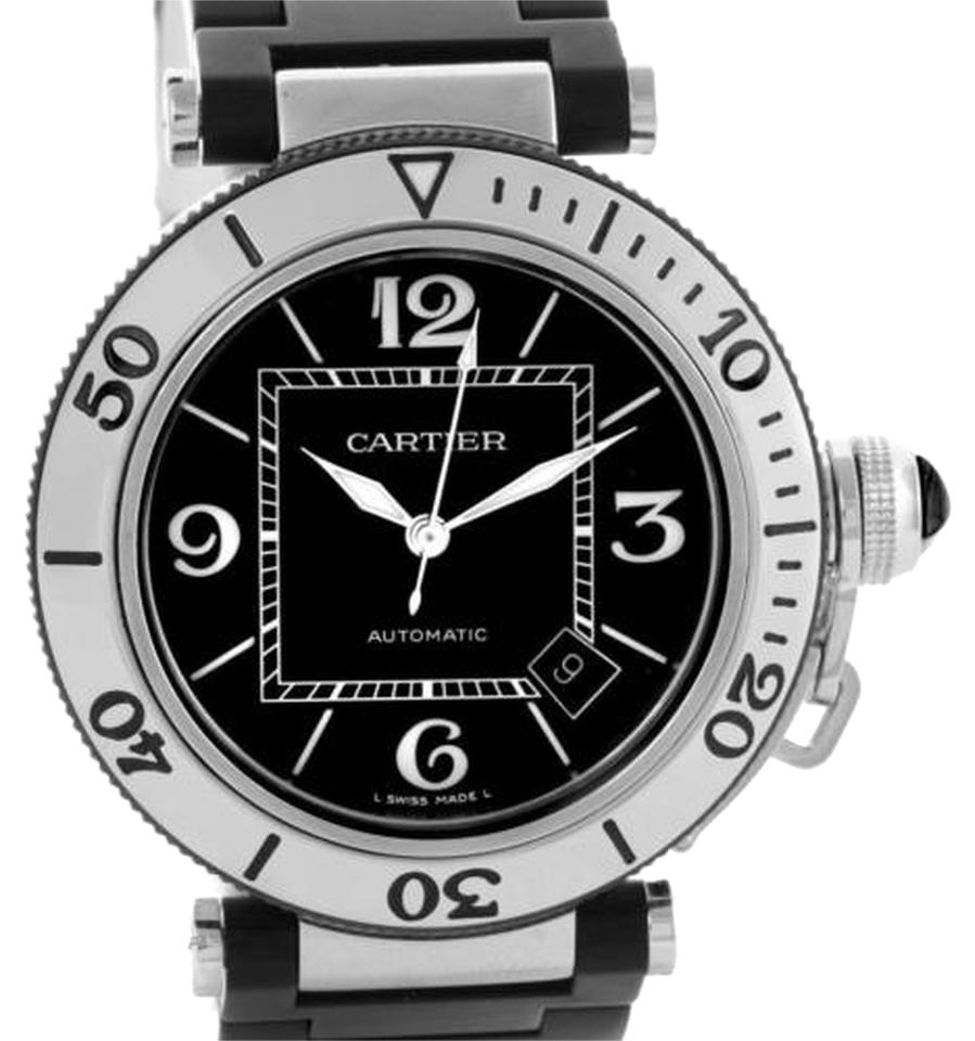 cartier designer watches 16e1  Cartier Cartier Pasha Seatimer Steel Black Rubber Strap Mens Watch W31077U2