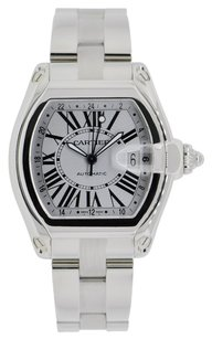 Cartier Cartier Roadster XL GMT Stainless Steel Watch Silver Dial W62032X6