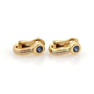 Cartier Cartier Sapphire 18k Tri-color Gold Oval Post Clip Huggie Earrings