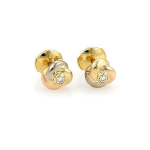 Cartier Cartier Trinity Diamond 18k Tri-color Love Knot Stud Earrings