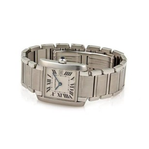 Cartier Cartier Tank Francaise Stainless Steel Date Midsize Wrist Watch Wpapers