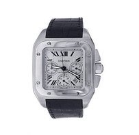 Cartier Cartier Watches - Santos Chronograph - Black Leather Band