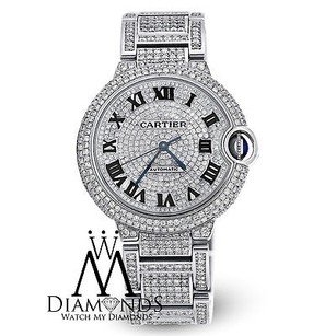 Cartier Diamond Cartier Ballon Bleu W6920046 Automatic Mid-size Watch Diamond Pave Dial