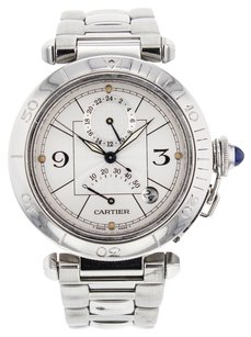 Cartier Men's Pasha GMT W310055 Stainless Steel Power Reserve Automatic Wrist Watch CRTSP38