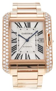 Cartier Men's XL Tank Anglaise 18k Rose Gold Watch with Diamonds WT100004 CRTTANR2