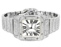 Cartier Mens Mm Custom Cartier Santos W20073x8 Watch With Ct Diamond