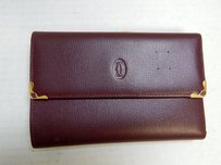 Cartier Must De Cartier Burgundy Leather Clutch Wallet Italy