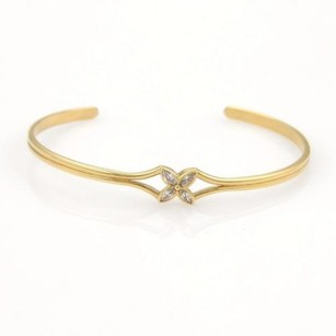 Cartier Tiffany Co. Victoria Diamond Floral 18k Yellow Gold Cuff Bracelet