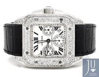 Cartier Un Worn Mens Mm Cartier Santos W20090x8 Chronograph Diamond Watch