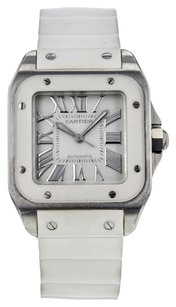 Cartier Women's Santos 100 W20122U2 Stainless Steel and White Rubber Automatic Watch CRTSS25