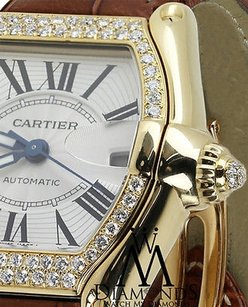 Cartier Yellow Gold Cartier Roadster Watch 2524 Brown Strap Diamond Bezel