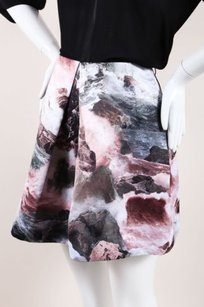 Carven Abstract Print Pleated Line Skirt Multi-Color
