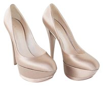 Casadei Nude Blush Satin Double Point Toe Heels Pumps Nwd Chic Beige Platforms
