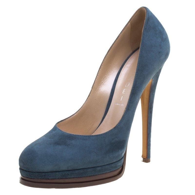 Casadei Woman Suede Platform Pumps Midnight Blue Size 39 Casadei 5pnpLA44