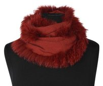 Cassin Cassin Womens Red Infinity Scarf Textured Cashmere Silk Casual