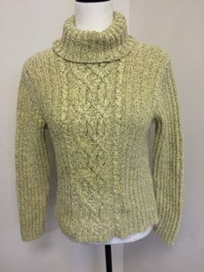 Casual Corner Womens Turtleneck Chunky Knit Pale Brown Thread Sweater