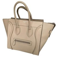 Céline Calfskin Mini Luggage Tote in Beige