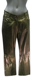 Cline Straight Metallic Lambs Leather Pants