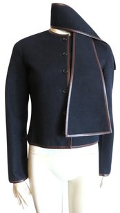 Céline Dark Navy shell/ Dark Brown leather trim Jacket