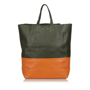 Céline Green Leather Orange 6aceto001 Tote